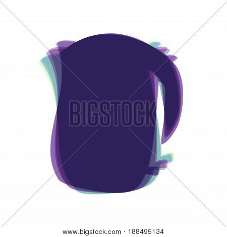Electric kettle sign. Vector. Colorful icon shaked with vertical axis at white background. Isolated.