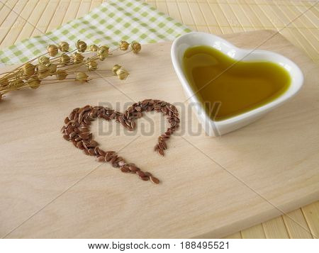 Heart made of linseed and flaxseed oil