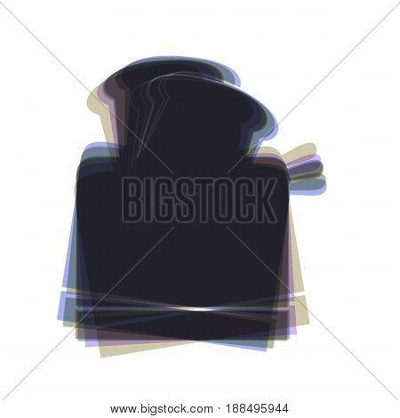Toaster simple sign. Vector. Colorful icon shaked with vertical axis at white background. Isolated.