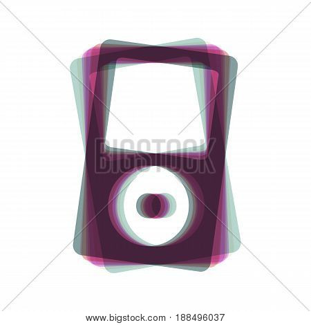 Portable music device. Vector. Colorful icon shaked with vertical axis at white background. Isolated.