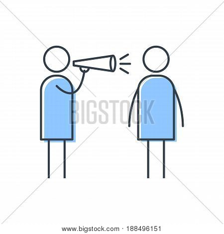 Man shouting at another man through loudspeaker. Simple vector illustration