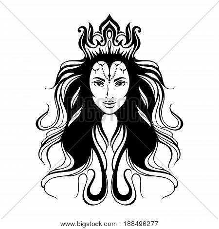 stylized hand drawn romantic portrait of young woman with crown in hair.head framed by tiara and curl wavy hair.Fantasy, magic, tattoo.amazing beauty oriental princess goddess in doodle tribal style