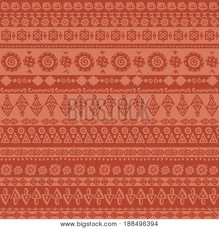 Seamless vintage pattern. Grungy texture. Ethnic and tribal motifs in red colors. Vector illustration.