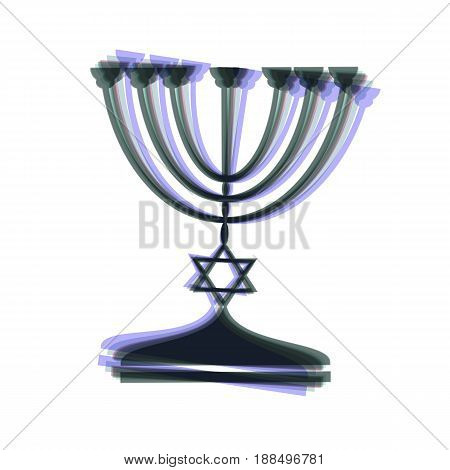 Jewish Menorah candlestick in black silhouette. Vector. Colorful icon shaked with vertical axis at white background. Isolated.
