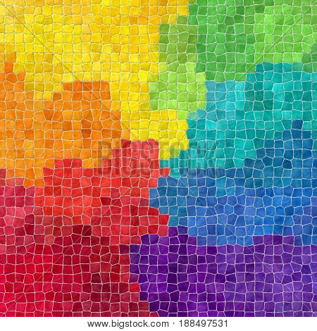 abstract nature marble plastic stony mosaic tiles texture background with gray grout - full spectrum rainbow colors
