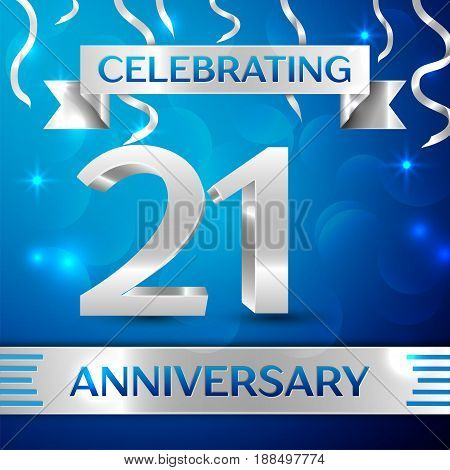 Twenty one Years Anniversary Celebration Design. Confetti and silver ribbon on blue background. Colorful Vector template elements for your birthday party. Anniversary ribbon