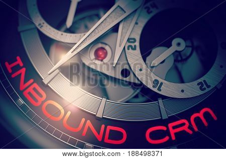 Inbound CRM on Fashion Watch, Chronograph Closeup. Inbound CRM - Fashion Pocket Watch with Visible Mechanism and Inscription on Face. Time and Business Concept with Lens Flare. 3D Rendering.