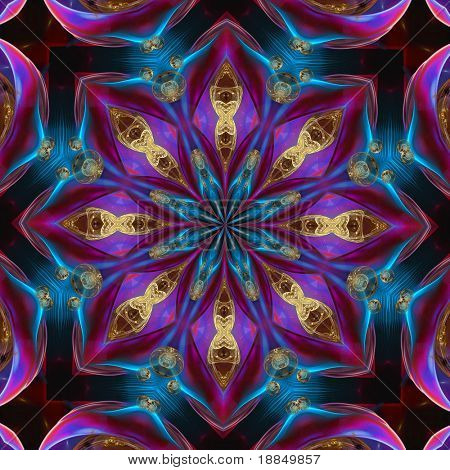abstract graphic mandala design/background in bright blues and purples