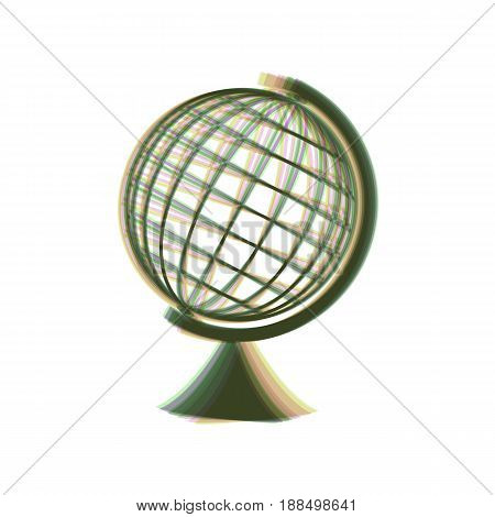Earth Globe sign. Vector. Colorful icon shaked with vertical axis at white background. Isolated.