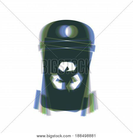 Trashcan sign illustration. Vector. Colorful icon shaked with vertical axis at white background. Isolated.
