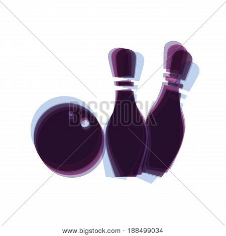 Bowling sign illustration. Vector. Colorful icon shaked with vertical axis at white background. Isolated.