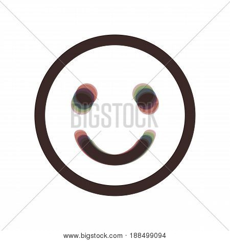 Smile icon. Vector. Colorful icon shaked with vertical axis at white background. Isolated.