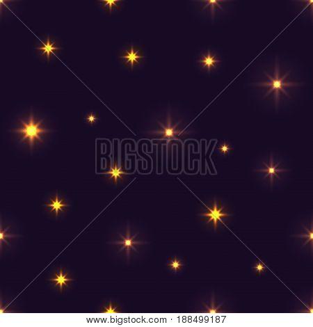 Vector Pattern Of Glittering Stars And Flickering Lights.