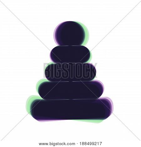Pyramid sign illustration. Vector. Colorful icon shaked with vertical axis at white background. Isolated.