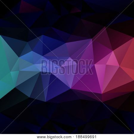 vector abstract irregular polygon background with a triangle pattern in dark multi color - rainbow strip in the middle