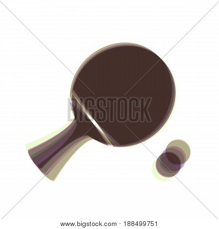 Ping pong paddle with ball. Vector. Colorful icon shaked with vertical axis at white background. Isolated.