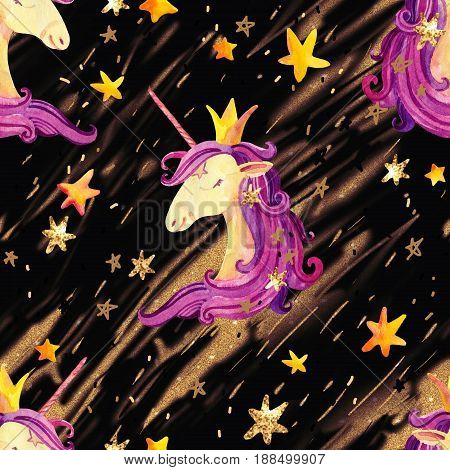 Watercolor unicorn seamless pattern. Fairy tale background with cute unicorn princess shine star sparkle flash shooting stars. Hand painted illustration for kids children design