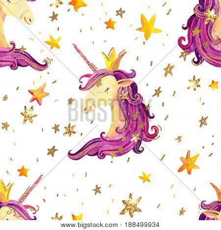 Watercolor unicorn seamless pattern. Fairy tale background with cute unicorn princess shine stars sparkles. Hand painted illustration for kids children design
