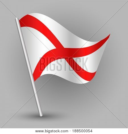 vector waving simple triangle american state flag on slanted silver pole - icon of alabama with metal stick