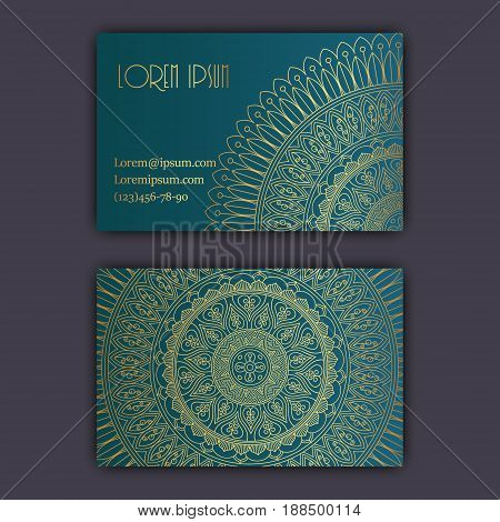 Vector Vintage Visiting Card Set. Glowing Shiny Floral Mandala Pattern And Ornaments. Luxury Design.
