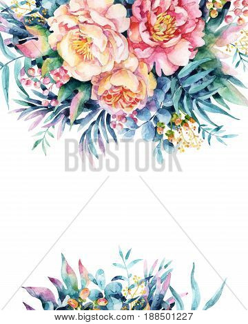 Watercolor flowers leaves berry weeds background. Peony anemone ranunculus meadow herbs arrangement. Hand painted watercolor illustration for floral design.
