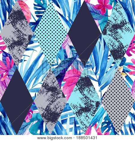 Abstract watercolor rhombi and tropical leaves seamless pattern. Rhombuses with palm leaf marble grunge textures background. Hand painted colorful natural illustration in patchwork style
