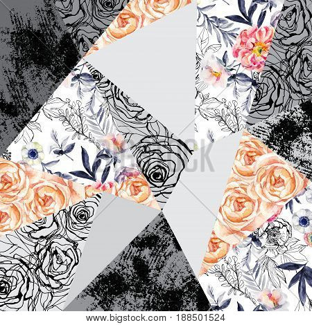 Watercolor and ink doodle flowers leaves weeds abstract background. Hand painted drawn floral elements (with roses anemones ranunculus meadow herbs) grunge textures in geometrical shapes