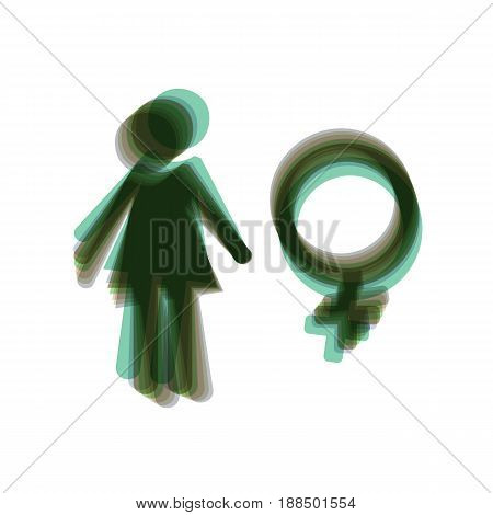 Female sign illustration. Vector. Colorful icon shaked with vertical axis at white background. Isolated.