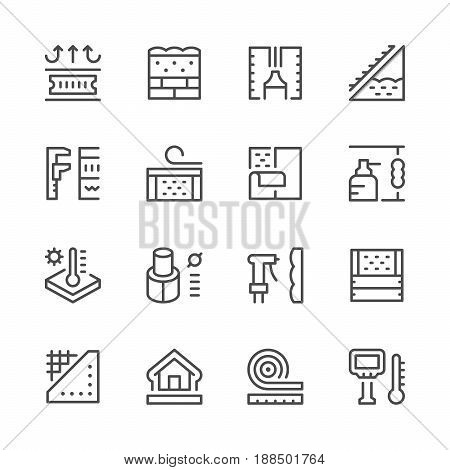 Set line icons of insulation isolated on white. Vector illustration