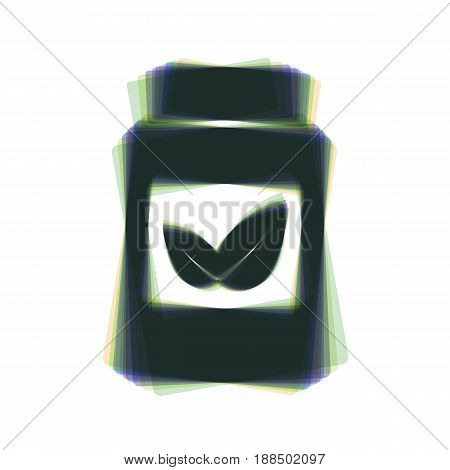 Supplements container sign. Vector. Colorful icon shaked with vertical axis at white background. Isolated.