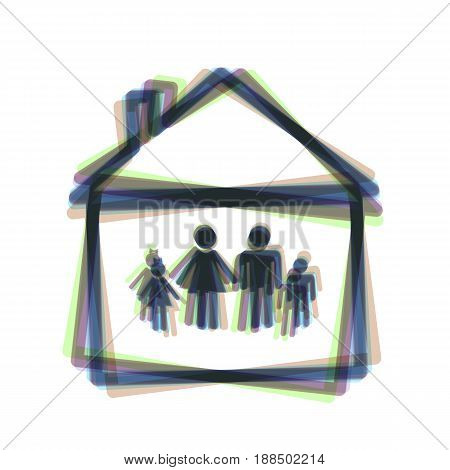 Family sign illustration. Vector. Colorful icon shaked with vertical axis at white background. Isolated.