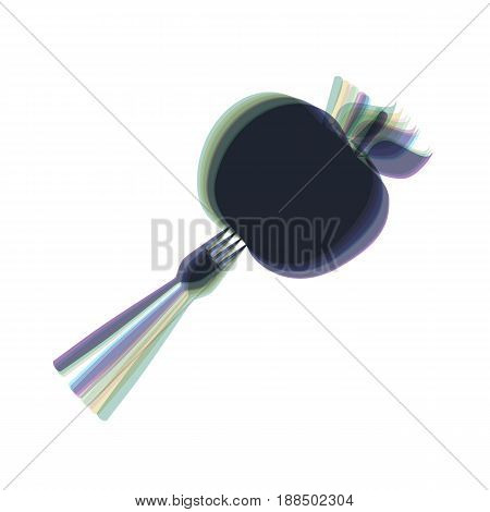 Vegetarian food sign illustration. Vector. Colorful icon shaked with vertical axis at white background. Isolated.