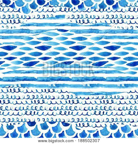 Watercolor textured seamless pattern with wave stripe squiggle fish scale ornaments. Abstract background in marine style. Hand painted water color illustration