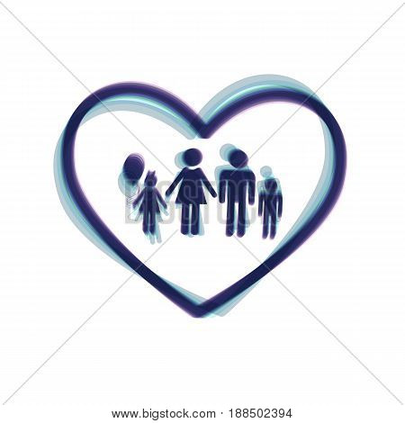 Family sign illustration in heart shape. Vector. Colorful icon shaked with vertical axis at white background. Isolated.