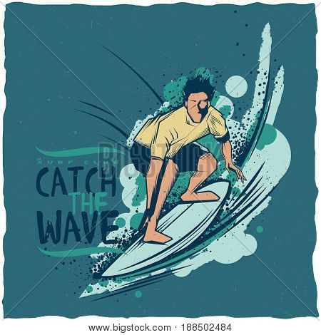 Surfing t-shirt label design with illustration of surfing man