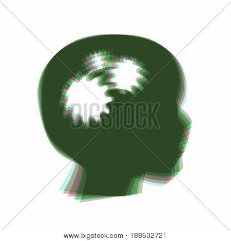 Thinking head sign. Vector. Colorful icon shaked with vertical axis at white background. Isolated.