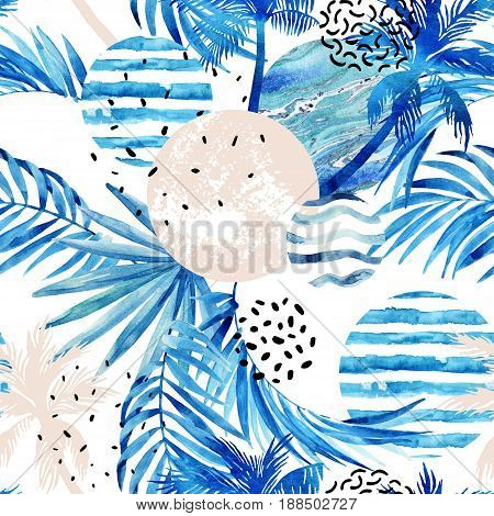 Abstract summer tropical palm trees and leaves seamless pattern. Watercolor palm tree leaf marble grunge doodle textured circles. Floral and geometrical background. Hand painted illustration