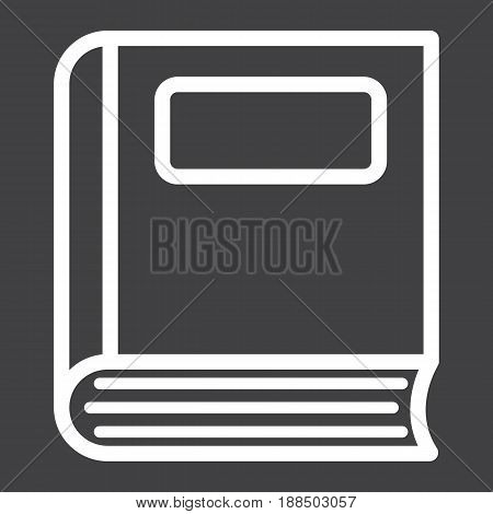 Book line icon, Education and school, vector graphics, a linear pattern on a black background, eps 10.