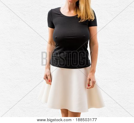 Woman on white background in empty black T-shirt