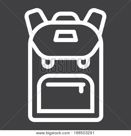 Backpack line icon, education and school, vector graphics, a linear pattern on a black background, eps 10.