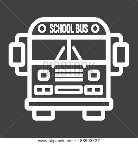 School bus line icon, transport and vehicle, vector graphics, a linear pattern on a black background, eps 10.