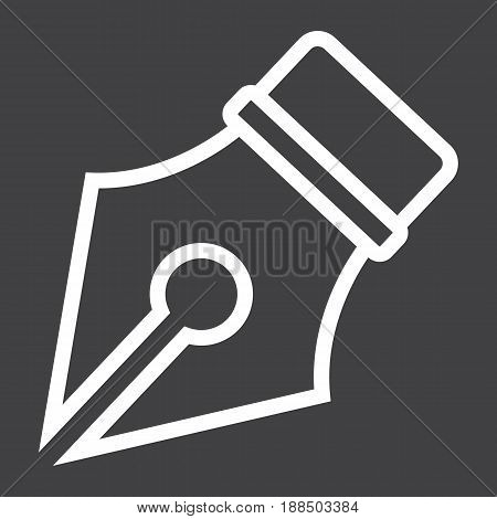 Fountain pen line icon, Education and ink, vector graphics, a linear pattern on a black background, eps 10.