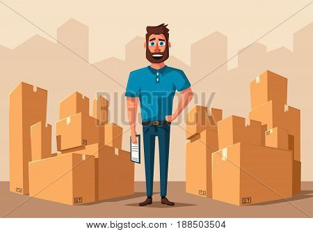 Moving with boxes. Transport company. Cartoon vector illustration. Fast delivery. Relocation assistance. Good worker