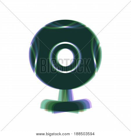 Chat web camera sign. Vector. Colorful icon shaked with vertical axis at white background. Isolated.