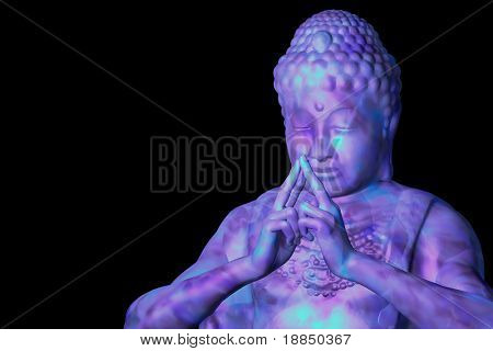 Purple blue buddha isolated on black with room for text