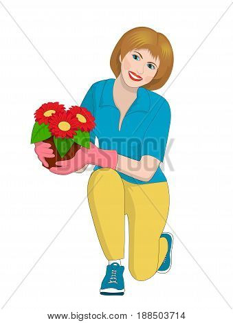 A girl holding a pot of flowers Isolated on white background