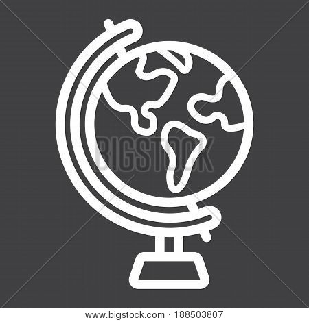 Globe line icon, world and geography, vector graphics, a linear pattern on a black background, eps 10.