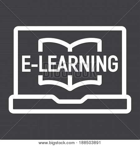 E learning line icon, education and online, vector graphics, a linear pattern on a black background, eps 10.