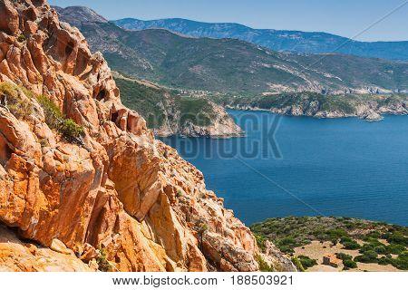 Coastal Landscape Of Corsica Island, Red Rocks