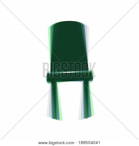 Office chair sign. Vector. Colorful icon shaked with vertical axis at white background. Isolated.